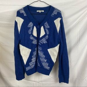 Always XXI Blue & White Long Sleeve Button Down Knit Cardigan Jumper Size L